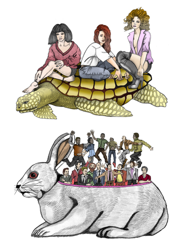Cartoon: The rabbit and the turtle (medium) by javierhammad tagged the,woman,tale,turtle,rabbit,rabbit,turtle,tale,woman