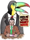 Cartoon: An exotic boss (small) by javierhammad tagged boss,work,employment,relation,office,money,euros,rich,suit,toucan