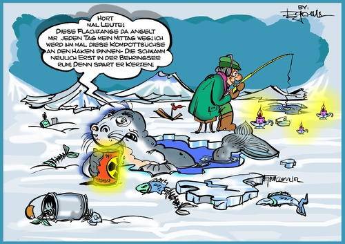 Cartoon: Eisangeln (medium) by Egon58 tagged atom,seuche,eisnageln,fisch