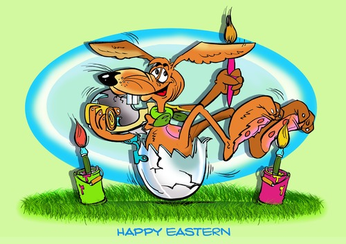 Cartoon: Frohe Ostern1 (medium) by Egon58 tagged eier,ostern,hase