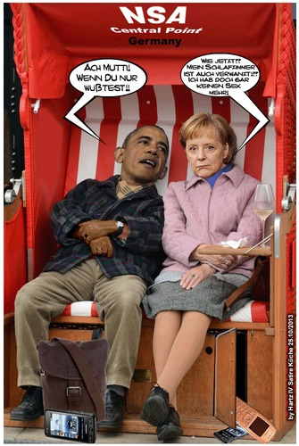 Cartoon: Verwanzt (medium) by Egon58 tagged merkel,obama,politik,nsa