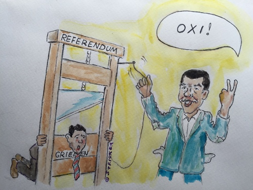 Cartoon: Tsipras Guillotine (medium) by CatPal tagged griechenlandkrise