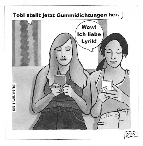 Cartoon: Gummidichtungen (medium) by BAES tagged gummi,dichtungen,dichter,gedichte,lyrik,sprache,literatur,frauen,freundinnen,handy,kommunikation,cartoon,karikatur,gummi,dichtungen,dichter,gedichte,lyrik,sprache,literatur,frauen,freundinnen,handy,kommunikation,cartoon,karikatur