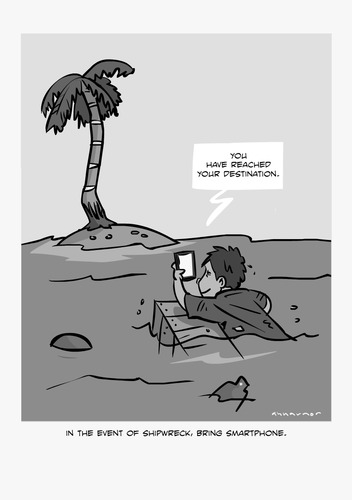 Cartoon: GPS (medium) by anuarmono tagged marooned,shipwreck,gps,smartphone,anuarmono