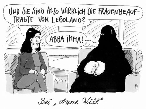 Cartoon: bei anne will (medium) by Andreas Prüstel tagged anne,will,talkshow,gesprächsrunde,ard,muslima,niqab,frauenbeauftragre,legoland,immigration,cartoon,karikatur,andreas,pruestel,anne,will,talkshow,gesprächsrunde,ard,muslima,niqab,frauenbeauftragre,legoland,immigration,cartoon,karikatur,andreas,pruestel