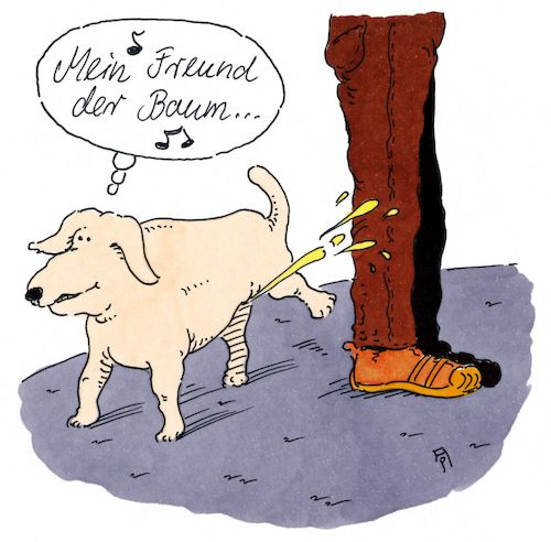 Cartoon: der baum (medium) by Andreas Prüstel tagged hund,baum,schlager,alexandra,cartoon,karikatur,andreas,pruestel,hund,baum,schlager,alexandra,cartoon,karikatur,andreas,pruestel