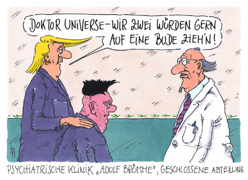Cartoon: eine bude (medium) by Andreas Prüstel tagged china,nordkorea,trump,kim,jong,un,geplantes,treffen,psychiatrie,cartoon,karikatur,andreas,pruestel,china,nordkorea,trump,kim,jong,un,geplantes,treffen,psychiatrie,cartoon,karikatur,andreas,pruestel