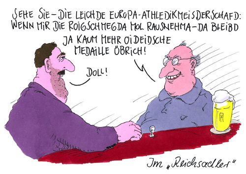 Cartoon: europameisterschaft (medium) by Andreas Prüstel tagged leichtathletikeuropameisterschaft,deutsche,medaillengewinner,migrationshintergrund,schwäbisch,cartoon,karikatur,andreas,pruestel