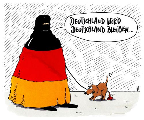 Cartoon: ewiges deutschland (medium) by Andreas Prüstel tagged kanzlerin,merkel,zitat,budestagsdebatte,immigration,flüchtlingspolitik,islam,burka,muslima,cartoon,karikatur,andreas,pruestel,kanzlerin,merkel,zitat,budestagsdebatte,immigration,flüchtlingspolitik,islam,burka,muslima,cartoon,karikatur,andreas,pruestel