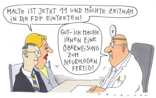 Cartoon: früherkennung (medium) by Andreas Prüstel tagged fdp,kinderarzt,mutter,kind,neurologie,fdp,kinderarzt,mutter,kind,neurologie,arzt,patient,gesundheit