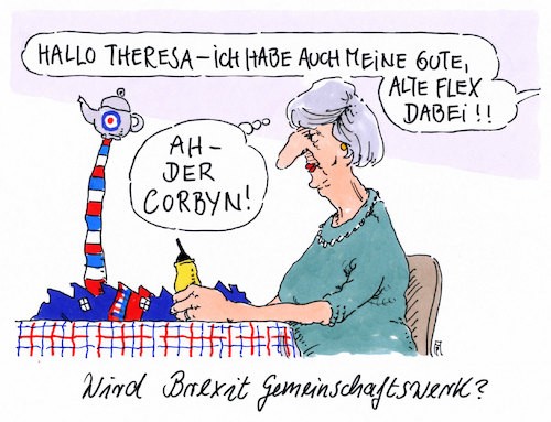 Cartoon: gemeinschaftswerk (medium) by Andreas Prüstel tagged brexit,theresa,may,oppositionsführer,jeremy,corbyn,flex,cartoon,karikatur,andreas,pruestel,brexit,theresa,may,oppositionsführer,jeremy,corbyn,flex,cartoon,karikatur,andreas,pruestel