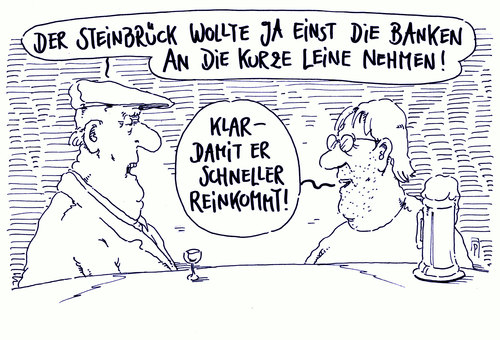 Cartoon: kurze leine (medium) by Andreas Prüstel tagged peer,steinbrück,spd,neuer,job,banken,cartoon,karikatur,andreas,pruestel,peer,steinbrück,spd,neuer,job,banken,cartoon,karikatur,andreas,pruestel