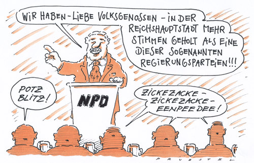 Cartoon: NPD FDP (medium) by Andreas Prüstel tagged berlinwahl,npd,fdp,berlin,wahl,npd,fdp,wahlen