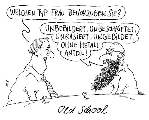 Cartoon: old school (medium) by Andreas Prüstel tagged alte,schule,old,school,klassisch,nostalgisch,veraltet,piercing,tattoo,cartoon,karikatur,andreas,pruestel,alte,schule,old,school,klassisch,nostalgisch,veraltet,piercing,tattoo,cartoon,karikatur,andreas,pruestel