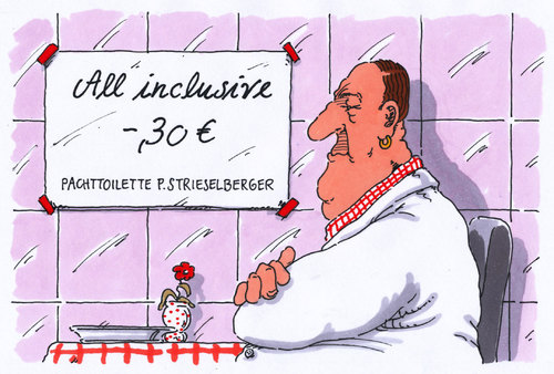 Cartoon: pachttoilette (medium) by Andreas Prüstel tagged wc,klo,toilette,pachttoilette,all,inclusive,cartoon,karikatur,andreas,pruestel,wc,klo,toilette,pachttoilette,all,inclusive,cartoon,karikatur,andreas,pruestel