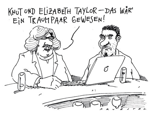 Cartoon: traumpaar (medium) by Andreas Prüstel tagged eisbär,knut,elizabethtayler,tod,kino,hollywood