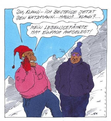 Cartoon: watzmann (medium) by Andreas Prüstel tagged bergsteigen,homosexualität,alpen