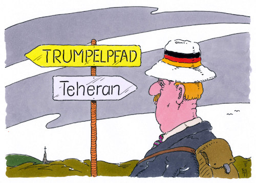 Cartoon: wegweisung (medium) by Andreas Prüstel tagged atomabkommen,usa,iran,deutschland,eu,cartoon,karikatur,andreas,pruestel,atomabkommen,usa,iran,deutschland,eu,cartoon,karikatur,andreas,pruestel