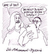 Cartoon: heisses bild (small) by Andreas Prüstel tagged prophet,mohammed,abbildungsverbot,islam,hysterie,fanatismus,angst,vorsicht