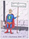 Cartoon: superman 75 (small) by Andreas Prüstel tagged superman,geburtstag,jubiläum,comic,held,hero,berlin,sbahn,schienenersatzverkehr,minijob,altersarmut,senioren,cartoon,karikatur,andreas,prüstel