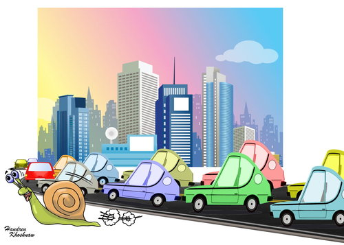 Cartoon: snail moving better than cars (medium) by handren khoshnaw tagged traffic,cars,cartoon,handren,khoshnaw