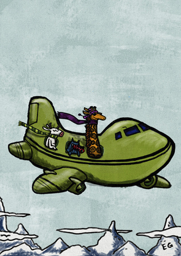 Cartoon: travel (medium) by ernesto guerrero tagged aeroplane,travel,animals