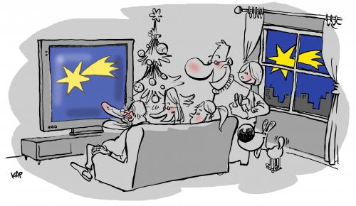 Cartoon: Christmas on television (medium) by kap tagged christmas,nöel,navidad,nadal,weihnacht,kap