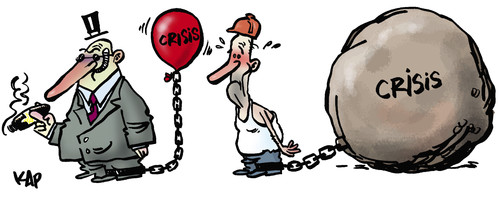 Cartoon: Crisis... not for all! (medium) by kap tagged crisis,money,rich,worker,kap,krise,wirtschaftskrise,finanzkrise,geld