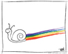Cartoon: Leave Your Mark in the World (small) by JohnBellArt tagged snail,trail,rainbow,color,mark,world,leave