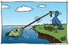 Cartoon: The Struggle (small) by JohnBellArt tagged struggle,bird,fish,worm,tug,pull,equal,desires,power,victim