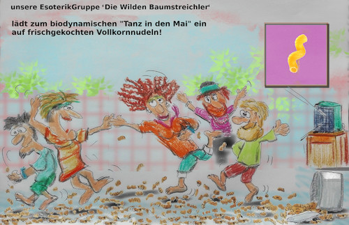 Cartoon: bayrische untergrundbewegung (medium) by ab tagged bayern,tradition,mai,tanz,virus,corona,verbot,lockdown,kontakt