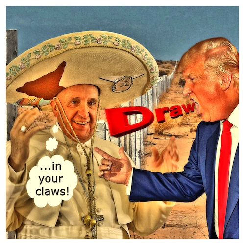 Cartoon: Mexican Dream (medium) by Night Owl tagged donald,trump,usa,president,united,states,mexiko,mexico,grenze,frontier,papst,pope,vatikan,vatican,desert,wüste,western,wild,west