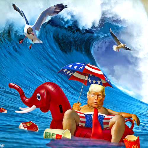 Cartoon: Blue Wave (medium) by Bart van Leeuwen tagged midterms,elections,blue,wave,bluewave,trump