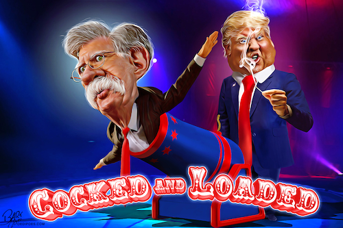 Cartoon: Cocked and Loaded (medium) by Bart van Leeuwen tagged iran,war,john,bolton,trump,drone,attack,cocked,loaded,sanctions