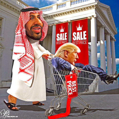Cartoon: Presidential sale (medium) by Bart van Leeuwen tagged khashoggi,trump,saudi,arabia,arms,deal,mohammed,bin,salman