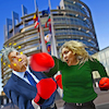 Cartoon: Left Hook (small) by Bart van Leeuwen tagged victor,orban,hungary,judith,sargantini,eu
