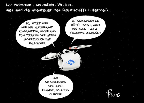 Cartoon: Raumschiff Enterpreiß (medium) by Paolo Calleri tagged star,trek,jubilaeum,tv,film,science,fiction,weltall,weltraum,enterprise,raumschiff,deutschland,europa,fluechtlingspolitik,bayern,csu,ministerpraesident,horst,zuwanderung,wandel,zukunft,gesellschaft,muslime,staatsbuerger,migranten,populismus,wahlen,rechte,aengste,multikulti,karikatur,cartoon,paolo,calleri,star,trek,jubilaeum,tv,film,science,fiction,weltall,weltraum,enterprise,raumschiff,deutschland,europa,fluechtlingspolitik,bayern,csu,ministerpraesident,horst,zuwanderung,wandel,zukunft,gesellschaft,muslime,staatsbuerger,migranten,populismus,wahlen,rechte,aengste,multikulti,karikatur,cartoon,paolo,calleri