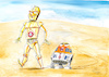 Cartoon: Star Wars... (small) by Paolo Calleri tagged eu,frankreich,weltraum,all,welt,erde,militär,kommando,präsident,emmanuel,macron,usa,donald,trump,armee,space,command,film,star,wars,r2d2,c3po,karikatur,cartoon,paolo,calleri