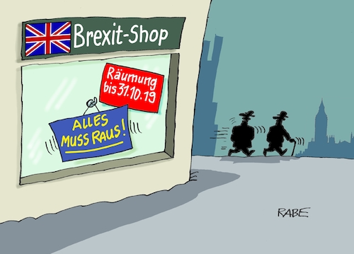 Cartoon: Brexit immer wieder (medium) by RABE tagged brexit,no,deal,johnson,boris,downing,street,austritt,eu,brüssel,london,rabe,ralf,böhme,cartoon,karikatur,pressezeichnung,farbcartoon,tagescartoon,may,juncker,luxemburg,laden,schaufenster,schlußverkauf,räumungsverkauf,themse,brexit,no,deal,johnson,boris,downing,street,austritt,eu,brüssel,london,rabe,ralf,böhme,cartoon,karikatur,pressezeichnung,farbcartoon,tagescartoon,may,juncker,luxemburg,laden,schaufenster,schlußverkauf,räumungsverkauf,themse