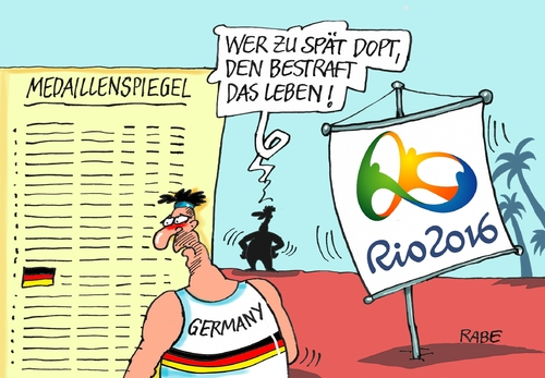 Cartoon: Olympiadoping (medium) by RABE tagged rio,sommerspiele,olympia,plympiade,finanzen,finanzlöcher,pleite,finanzminister,rabe,ralf,böhme,cartoon,karikatur,pressezeichnung,farbcartoon,tagescartoon,ringe,doping,deutschland,medaillen,medaillenspiegel,rio,sommerspiele,olympia,plympiade,finanzen,finanzlöcher,pleite,finanzminister,rabe,ralf,böhme,cartoon,karikatur,pressezeichnung,farbcartoon,tagescartoon,ringe,doping,deutschland,medaillen,medaillenspiegel