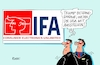 Cartoon: IFA (small) by RABE tagged berlin,trump,usa,funkausstellung,haarschnitt,logo,aussteller,messe,rabe,ralf,böhme,cartoon,karikatur,pressezeichnung,farbcartoon,tagescartoon,messehalle,funkturm,hauptstadt,publikum,besucher,donald,merkel,wahlkampf