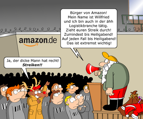 Cartoon: Amazon Streik (medium) by CloudScience tagged amazon,streik,weihnachten,skalverei,amazon,streik,weihnachten,skalverei