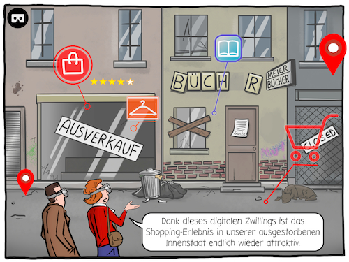 Cartoon: Aussterben der Innenstädte (medium) by CloudScience tagged digitaler,zwilling,einzelhandel,staedtesterben,innenstadt,geisterstadt,digitalisierung,digital,tech,technologie,shopping,handel,stationaer,stationaerer,city,stadt,vr,virtual,reality,virtuelle,realitaet,ar,augmented,kunden,technik,wirtschaft,business,zukunft,trend,gesellschaft,disruption,innovation,wandel,smart,transformation,kritik,infrastruktur,digitaler,zwilling,einzelhandel,staedtesterben,innenstadt,geisterstadt,digitalisierung,digital,tech,technologie,shopping,handel,stationaer,stationaerer,city,stadt,vr,virtual,reality,virtuelle,realitaet,ar,augmented,kunden,technik,wirtschaft,business,zukunft,trend,gesellschaft,disruption,innovation,wandel,smart,transformation,kritik,infrastruktur