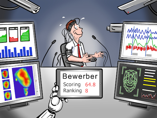 Cartoon: Bewerbungsgespräch (medium) by CloudScience tagged bewerbung,bewerbungsgespraech,bewerber,vorstellungsgespraech,recruiting,hr,robo,roboter,bot,algorithmen,ranking,scoring,personalwesen,affective,computing,gefuehle,waermebild,analyse,monitoring,technik,technologie,tech,digitalisierung,digital,zukunft,trend,cartoon,illustration,ueberwachung,chatbot,it,computer,luegendetector,luegen,vertrauen,mensch,maschine,1984,big,data,ki,kuenstliche,intelligenz,job,karriere,arbeit,arbeitsmarkt,machine,learning,sensing,emotion,bewerbung,bewerbungsgespraech,bewerber,vorstellungsgespraech,recruiting,hr,robo,roboter,bot,algorithmen,ranking,scoring,personalwesen,affective,computing,gefuehle,waermebild,analyse,monitoring,technik,technologie,tech,digitalisierung,digital,zukunft,trend,cartoon,illustration,ueberwachung,chatbot,it,computer,luegendetector,luegen,vertrauen,mensch,maschine,1984,big,data,ki,kuenstliche,intelligenz,job,karriere,arbeit,arbeitsmarkt,machine,learning,sensing,emotion