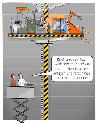 Cartoon: Industrie Plattform (medium) by CloudScience tagged industrie40,industrie,iot,internet,der,dinge,wirtschaft,business,robotik,automation,plattform,plattformoekonomie,smart,factory,fabrik,fertigung,produktion,illustration,daten,austausch,vernetzung,kommunikation,it,transformation,disruption,zukunft,trend,digitalisierung,digital,technik,tech,technologie,technology,platform,ki,cloud,erp,bci,schnittstelle,industrie40,industrie,iot,internet,der,dinge,wirtschaft,business,robotik,automation,plattform,plattformoekonomie,smart,factory,fabrik,fertigung,produktion,illustration,daten,austausch,vernetzung,kommunikation,it,transformation,disruption,zukunft,trend,digitalisierung,digital,technik,tech,technologie,technology,platform,ki,cloud,erp,bci,schnittstelle