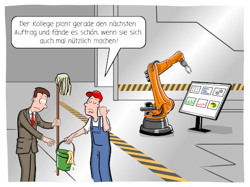 Cartoon: Shopfloor (medium) by CloudScience tagged shopfloor,lean,management,industrie,40,industrie40,fertigung,produktion,roboter,robotik,roboterarm,kuka,it,tech,technik,technologie,digital,digitalisierung,iot,smart,ki,ai,kuenstliche,intelligenz,zukunft,innovation,disruption,digitale,transformation,arbeiter,manager,unternehmen,business,prozess,wirtschaft,shopfloor,lean,management,industrie,40,industrie40,fertigung,produktion,roboter,robotik,roboterarm,kuka,it,tech,technik,technologie,digital,digitalisierung,iot,smart,ki,ai,kuenstliche,intelligenz,zukunft,innovation,disruption,digitale,transformation,arbeiter,manager,unternehmen,business,prozess,wirtschaft