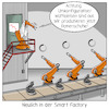 Cartoon: Smart Factory (small) by CloudScience tagged smart,factory,fabrik,intelligente,zukunft,vernetzung,automatisierung,roboter,iot,digitalisierung,digital,robotik,produktion,fliessband,autonom,kuka,industrieroboter,industrie40,tech,technik,technologie,wirtschaft,it,computer,konfiguration,umrüsten,losgröße,logistik,herstellung,innovation,kommunikation