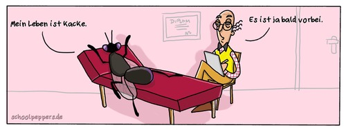 Cartoon: Schoolpeppers 72 (medium) by Schoolpeppers tagged insekt,tiere,fliege,psychiater