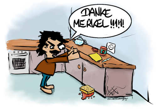 Cartoon: Das Merkel-Toast (medium) by der_Sekundenzeiger tagged internetkommentare,politik,bürger,besorgte,backofen,messer,marmelade,toastbrot,brot,schuldzuweisungen,schuld,küche,kanzlerin,toast,merkel