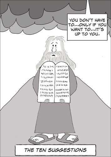 Cartoon: The Ten Suggestions (medium) by fonimak tagged moses,ten,commandments,sinai,bible,biblical,tablets,cartoon,digital,photoshop,wacom